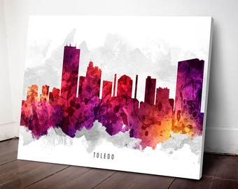 Toledo Skyline Canvas Print, Toledo Art, Toledo Art print, Toledo Cityscape, Home Decor, Gift Idea, USOHTO14C