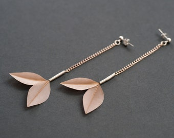 Minimal Long Drop Feather Earrings on Silver Chains + Studs in Shiny Cream Beige Eggshell Trimmed Leaf Style