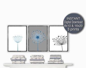 Printable Gray Blue Wall Art Prints Scandinavian Art Set of 3 Prints Neutral Dandelion Wall Art 8x10 16x20 A3 A4