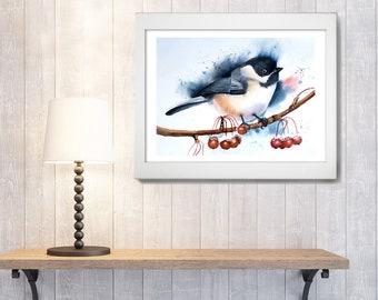 Chickadee Watercolor Print Bird art decor Winter songbird artwork watercolour Painting illustration gift Chickadee