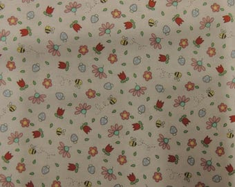 Fabric cotton patchwork Riley Blake designs pink background bees and flowers