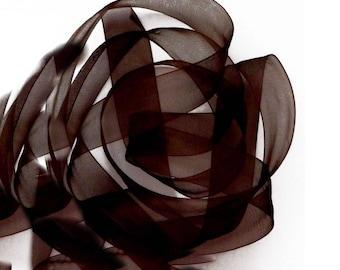 CHOCOLATE 6 mm wide organza Ribbon Spool 32 meters