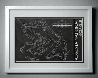 Blueprint map etsy augusta national blueprint drawing instant digital download the masters malvernweather Choice Image