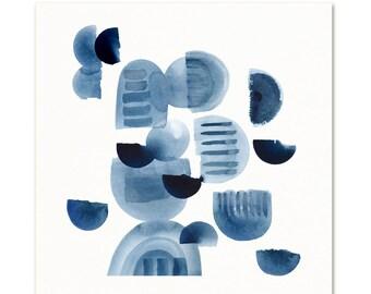 Indigo Blue Mid Century Modern Style Wall Art. Abstract Watercolor Art Print. Modern Minimal Contemporary Art. Large Living Room Art Print.
