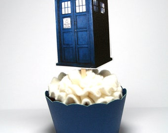 DIY TARDIS Dr. Who Cupcake Toppers INSTANT download, digital file, printable, print at home, birthday party, baby shower, wedding, bridal