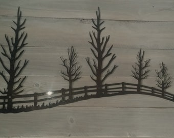Country Treeline-country, wall art, metal art, steel wall decor