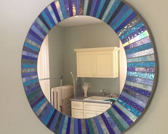 Blue mosaic sunburst mirror