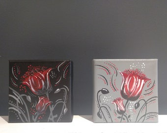 Flowers painted in acrylic on canvas