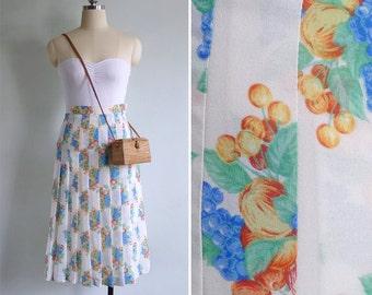 Vintage 80's Fruitful Harvest Novelty Print White A-Line Skirt XXS or XS