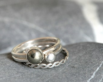 Set of THREE stacking rings - sterling silver and pyrite cabochon - made to order