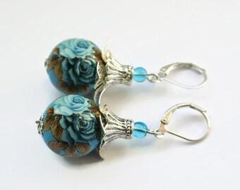 Lovely Japanese Tensha Bead, Blue Rose Jewelry, Long Dangle Earrings, Handmade Earrings, Large Rose Earrings, Floral Jewelry