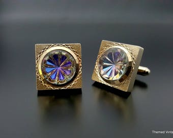 Swank Heliotrope cuff links blue purple rhinestone gold tone cufflinks