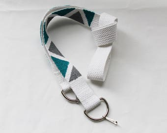 Turquoise and silver hand painted camera strap