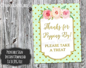 Printable Thanks for Popping By Popcorn Bar Sign 8x10 Mint Green Pink Watercolor Flowers Gold Polka Dots Baby Shower Digital Download