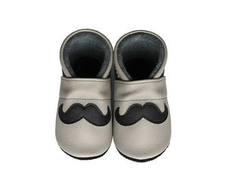 Leather Baby Booties, Mustache, Baby Shoes, Infant, Newborn, Nursery, Children Gray Beige