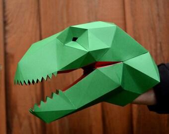 T-Rex Puppet - Build a Paper Hand Puppet   Dinosaur Puppet   Kids Craft Project   Dinosaur Birthday   Dinosaur Party