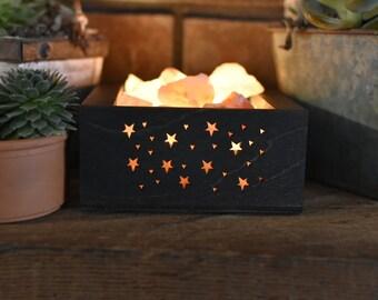 Brown Starry Galaxy Himalayan Salt Lamp - Hopper Style