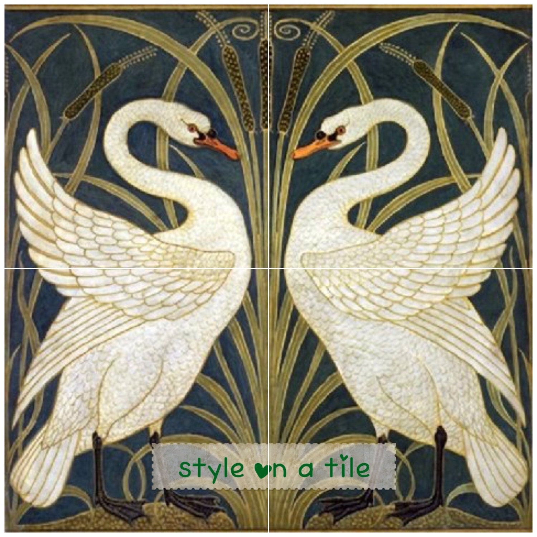 Lovely Art Nouveau Walter Crane White Swans Iris Bullrush Design B - 4x6 white ceramic tile