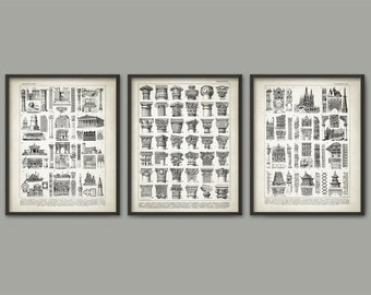Architect Prints Set of 3 - Architecture Posters - Building Design - Gothic - Corinthian - Ionic - Doric - Architecture Student Gift Idea