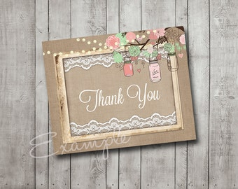 Bridal Shower Thank You Card Mason Jar Tree Branch Pink Coral Mint Burlap Lace Rustic Wood Fairy Lights Printable Instant Download