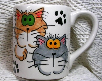 Goofy Cats Mug Original Handmade With Paws On Back by Grace M. Smith