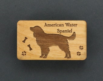 Original Design American Water Spaniel Wood Magnet