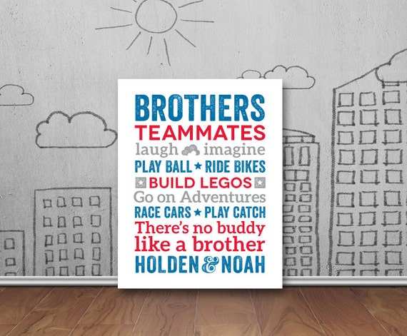 Brothers Wall Art Boy Room Decor Brother Quotes Big