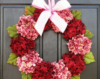 Valentine Front Door Wreath, Valentines Day Wreath for Front Door, Summer Hydrangea Wreath, Red Pink Wreath, Valentines Day Porch Decor