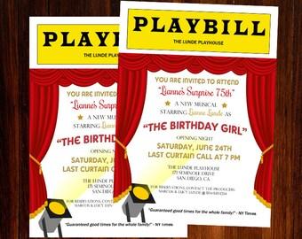 Broadway Invitation, Broadway Birthday Invitation, Broadway Theme Invitation, Broadway Night Invitation, Digital Printable Invitation