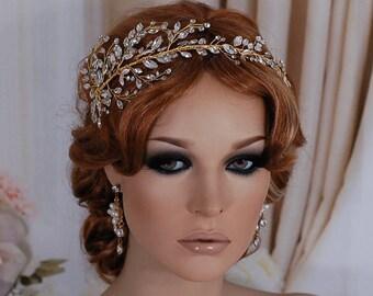 Gold or Silver Bridal Wreath Headpiece Wedding Bride Headband Vine Hairband Weddings Hair Accessory Jewelry Accessories Head Piece Hairpiece