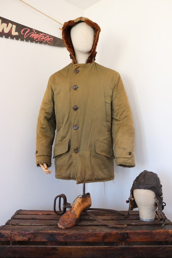 "Vintage 1950s 50s USAF US Air Force B-9 B9 khaki green parka jacket 44"" chest mouton collar military Talon zipper split hood"