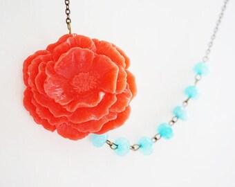 Bridesmaid Gift Bridesmaid Jewelry Cherry Red Necklace Red Necklace Poppy Necklace Aqua Necklace Bridesmaid Necklace Flower Necklace Gift
