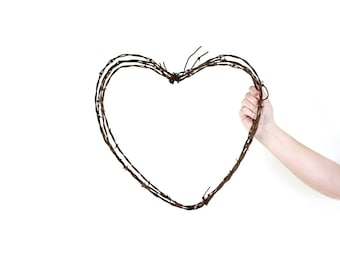 Large Heart Shaped Wreath / wedding wreath . heart wreath . barbed wire wreath . heart decor . heart wall decor . barbed wire heart wreath