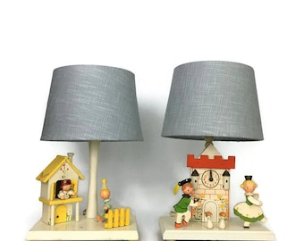 Vintage Pair of Nursery Lamps Light Lighting Decor // Wooden Lamps // Vintage Baby