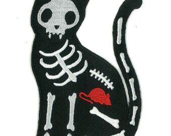 "5"" High X-Ray Black Cat Skelanimals Iron-on Patch Punk Emo Scene Kid Raver Horror Hipster Goth Kitty Kitten Gothic Rocker Cute Bones Mouse"
