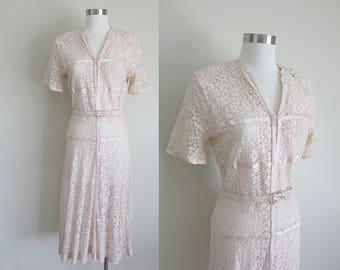 1940s Lace Dress | Pink Lace Dress | Eyelet Dress | Betty Hartford | Small