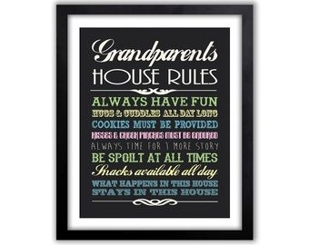 Grandparents Day - Gifts For Grandparents - Grandparents Wall Decor - Gift For Grandparents - Chalkboard Wall Sign - Grandparents Rules Sign