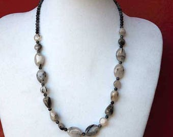 Necklace made of Quartz and obsidian, black marbled grey, 50cm, ideal ceremony
