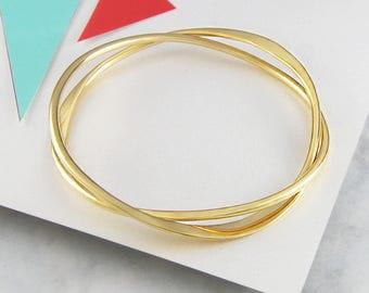 Silver Gold Bracelet-Infinity Bangle-Gold Bangle Bracelet-Friendship Bangle-Statement Gold Bangle-Stacking Bangle-Gold Wire Bangle-Otisjaxon