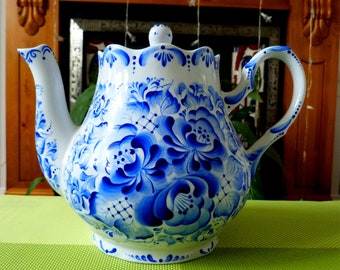 Large Blue and white TEAPOT 2L 100% HAND painted porcelain in Gzhel style big tea pot