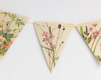 Pink wedding decor, Wedding Bunting Flags, Floral Wedding Garland Backdrop, Flower banner, eco-friendly bunting, Pennants