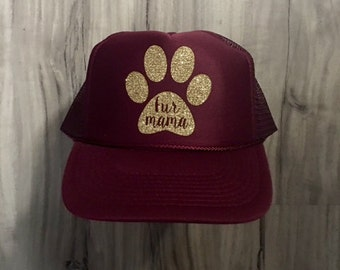 Fur Mama Trucker Hat Mesh Women's Trucker Hat Glitter Hat