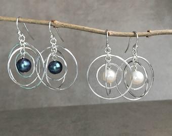 Sterling Silver and Freshwater Pearl Dangle Hoop Earrings - Hammered Silver Orbit Hoops with Pearls - White or Black Pearl Earrings