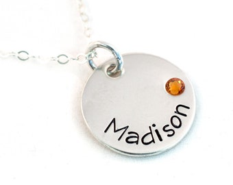 Name Necklace - Mother's Necklace - Birthstone Necklace - Sterling Silver