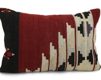 15x23 kilim lumbar pillow, turkish kilim pillow, rug, red kilim, bohemian pillow, vintage kilim pillow, kilim pillow cover, designer pillows