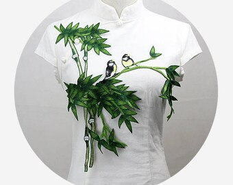 Green Bamboo Appliques, Birds Patches, Embroidery Patches
