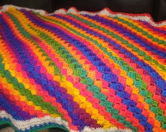 Diagonal Striped Afghan