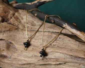 Brass earrings with tourmaline.