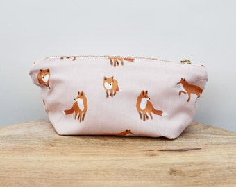 Fox pouch, soft zippered pouch, makeup pouch, small pouch, oxford and canvas pouch, travel pouch, fabric pouch