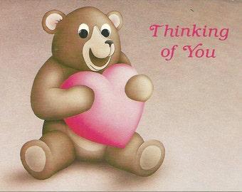 Vintage 1980s Postcard Thinking of You Cute Teddy Bear Heart Valentine Love Sweet Super Retro Card Photochrome Era Postally Unused